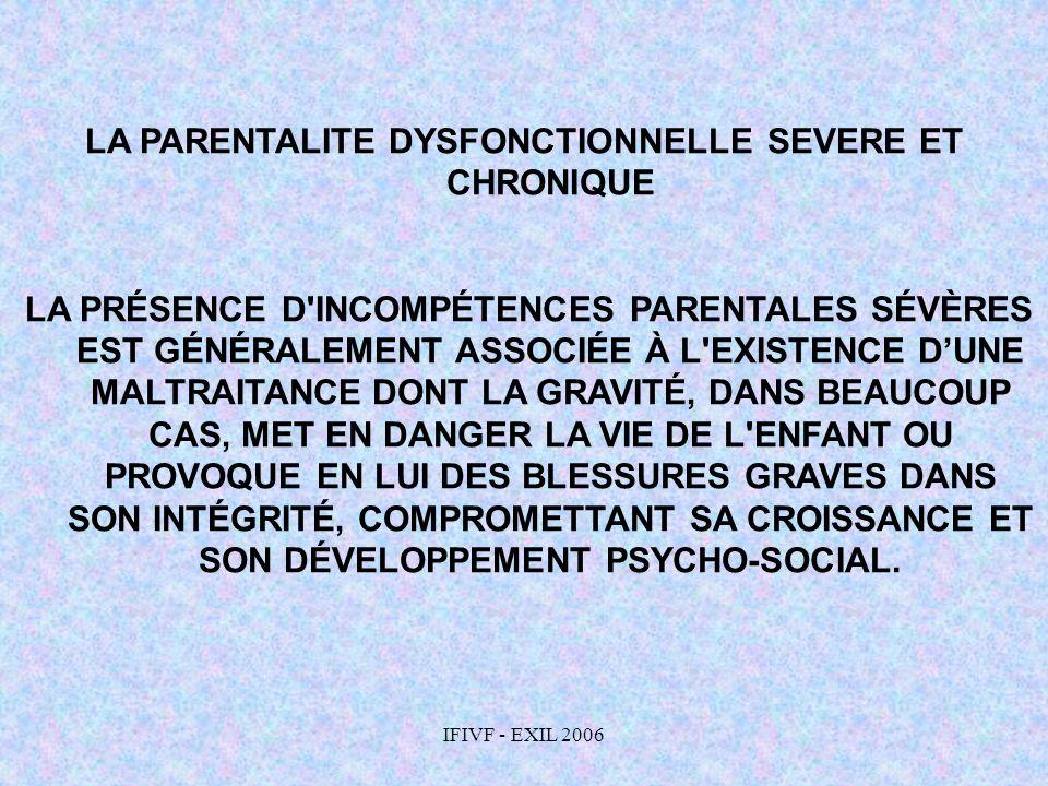 IFIVF - EXIL 2006 LA PARENTALITE DYSFONCTIONNELLE SEVERE ET CHRONIQUE LA PRÉSENCE D'INCOMPÉTENCES PARENTALES SÉVÈRES EST GÉNÉRALEMENT ASSOCIÉE À L'EXI
