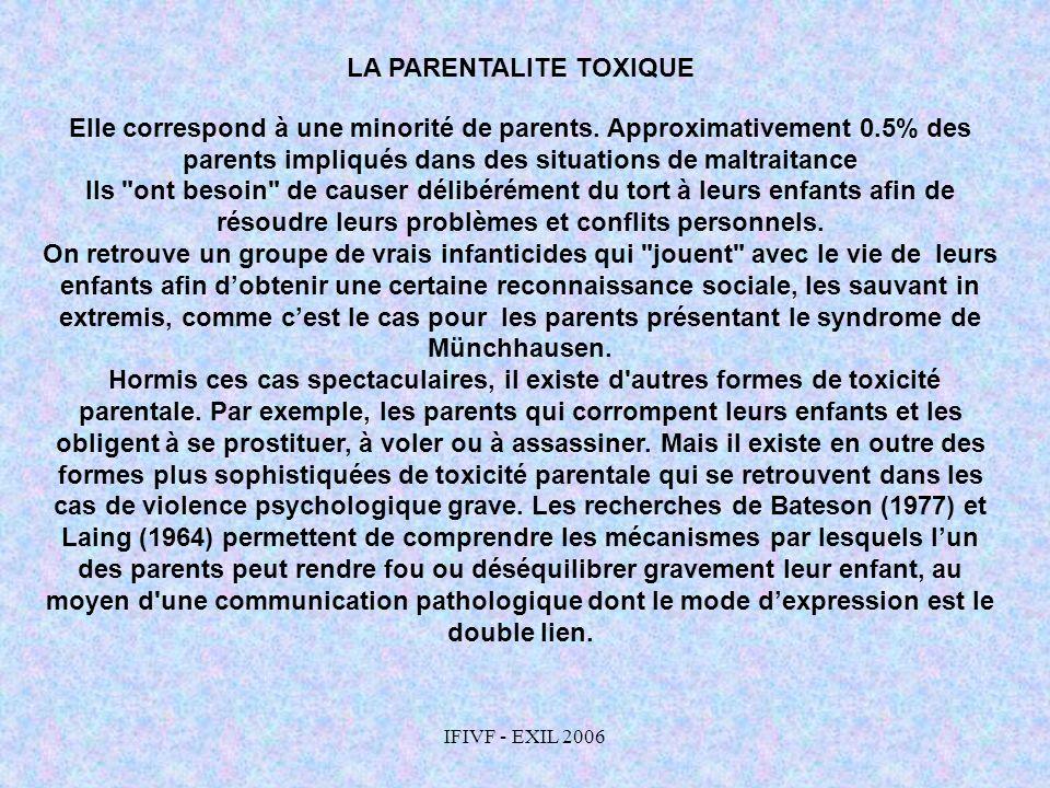 IFIVF - EXIL 2006 LA PARENTALITE TOXIQUE Elle correspond à une minorité de parents. Approximativement 0.5% des parents impliqués dans des situations d