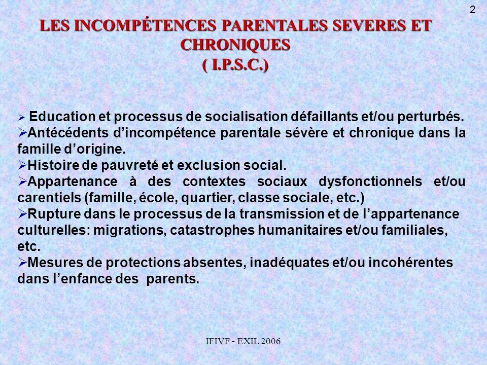 IFIVF - EXIL 2006 Education et processus de socialisation défaillants et/ou perturbés. Antécédents dincompétence parentale sévère et chronique dans la