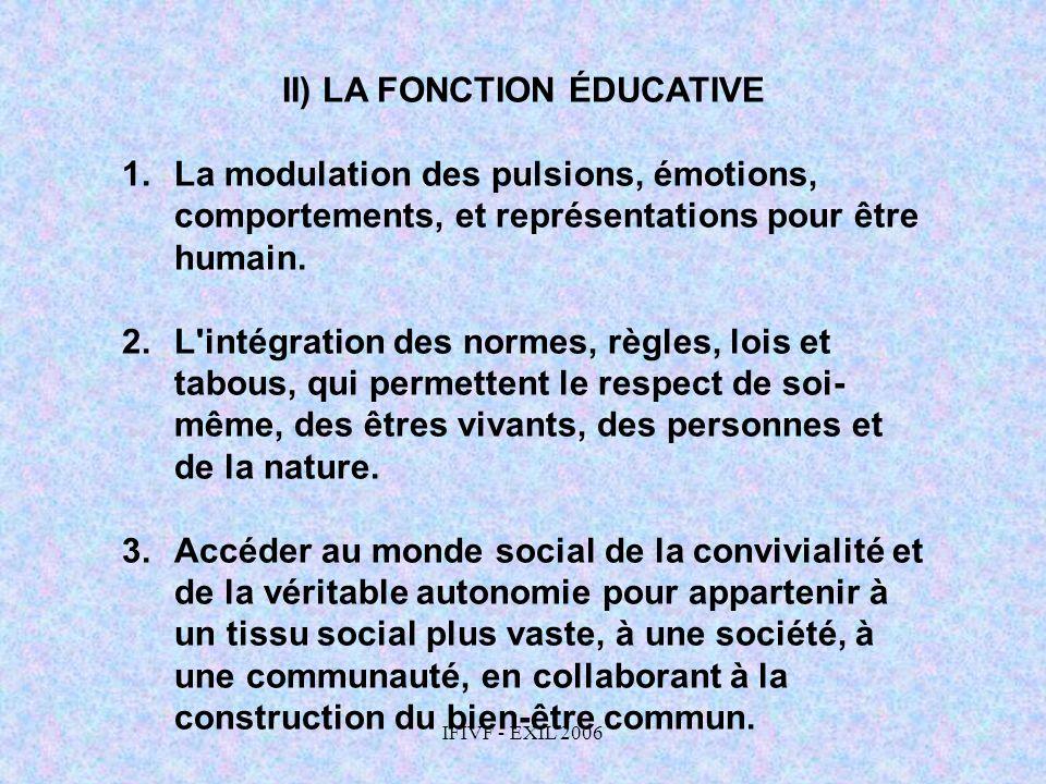 IFIVF - EXIL 2006 II) LA FONCTION ÉDUCATIVE 1.La modulation des pulsions, émotions, comportements, et représentations pour être humain. 2.L'intégratio