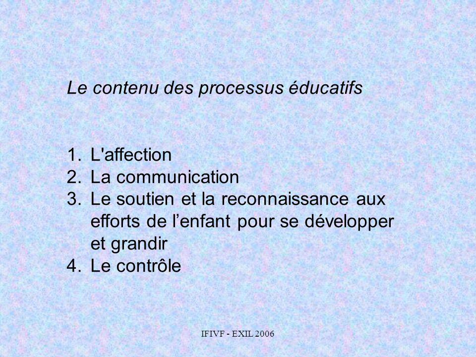 IFIVF - EXIL 2006 Le contenu des processus éducatifs 1.L'affection 2.La communication 3.Le soutien et la reconnaissance aux efforts de lenfant pour se