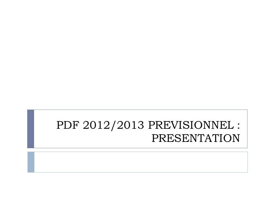 PDF 2012/2013 PREVISIONNEL : PRESENTATION