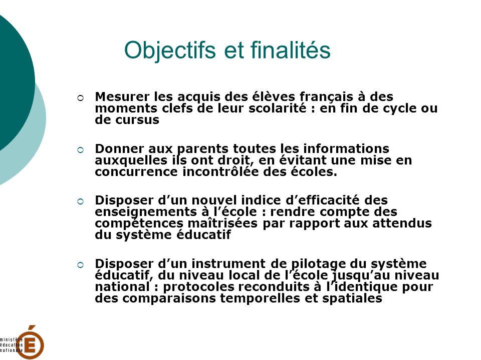 Objectifs et finalités Mesurer les acquis des élèves français à des moments clefs de leur scolarité : en fin de cycle ou de cursus Donner aux parents