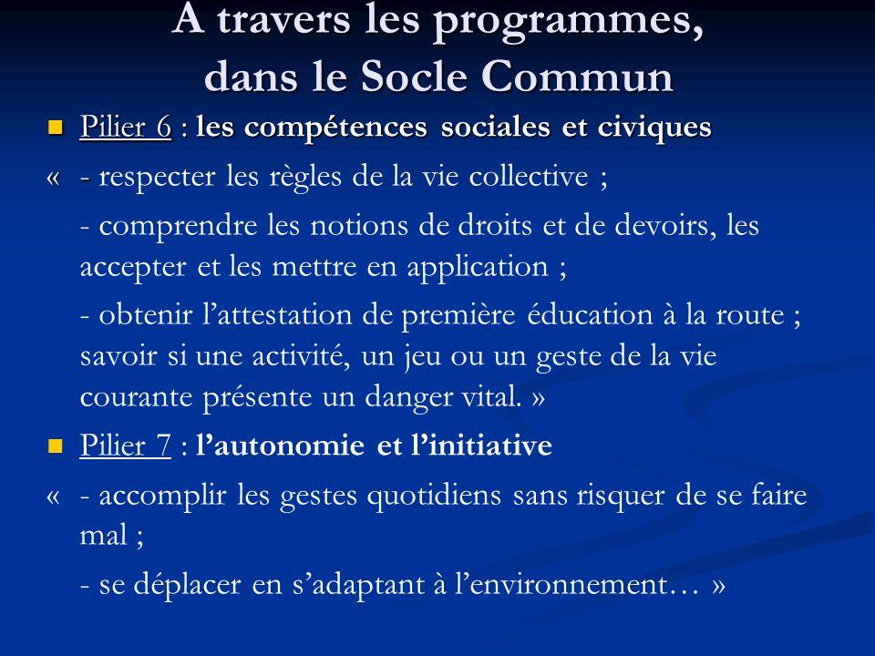 A travers les programmes, dans le Socle Commun Pilier 6 : les compétences sociales et civiques Pilier 6 : les compétences sociales et civiques «- «- r