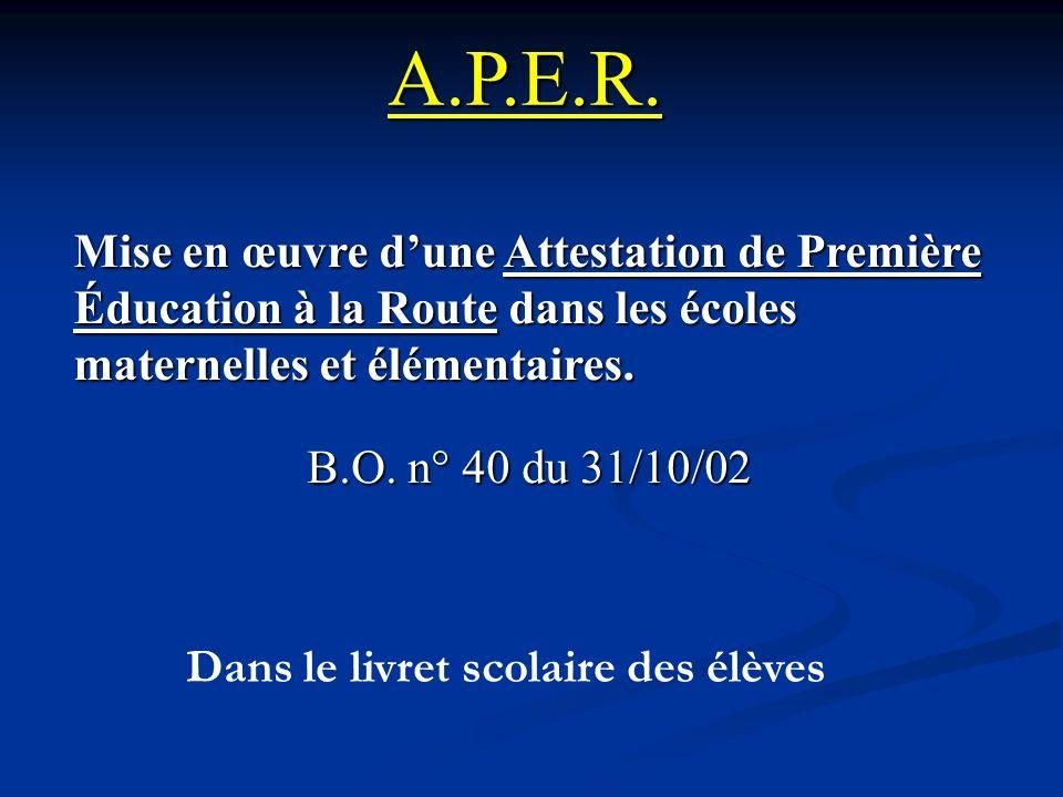 A.P.E.R. Mise en œuvre dune Attestation de Première Éducation à la Route dans les écoles maternelles et élémentaires. B.O. n° 40 du 31/10/02 Dans le l