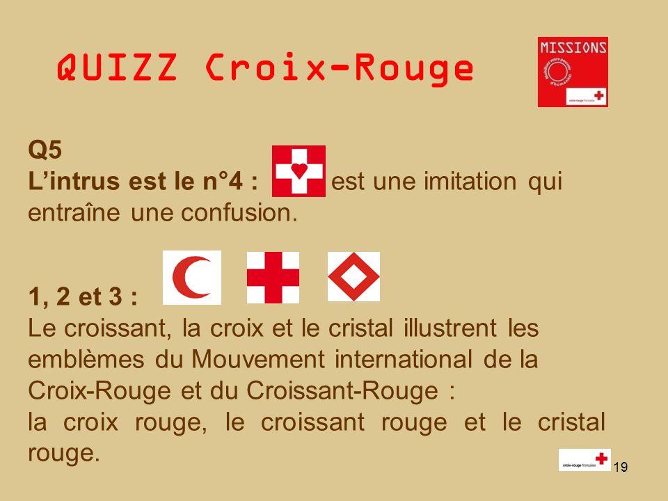 QUIZZ Croix-Rouge 19 Q5 Lintrus est le n°4 : est une imitation qui entraîne une confusion. 1, 2 et 3 : Le croissant, la croix et le cristal illustrent