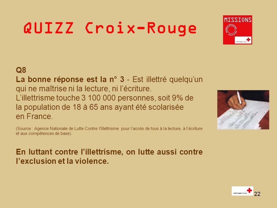 QUIZZ Croix-Rouge 22 Q8 La bonne réponse est la n° 3 - Est illettré quelquun qui ne maîtrise ni la lecture, ni lécriture. Lillettrisme touche 3 100 00