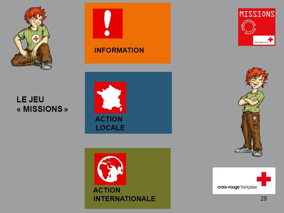 QUIZZ Croix-Rouge « Mobilisez votre pouvoir dhumanité » 1 - 25 LE JEU « MISSIONS » ACTION INTERNATIONALE ACTION LOCALE INFORMATION