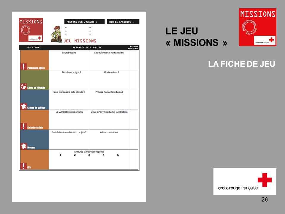 QUIZZ Croix-Rouge « Mobilisez votre pouvoir dhumanité » 1 - 26 LA FICHE DE JEU LE JEU « MISSIONS »