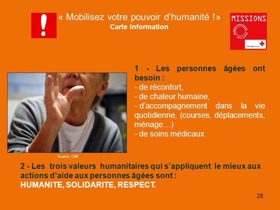 QUIZZ Croix-Rouge 1 - Les personnes âgées ont besoin : - de réconfort, - de chaleur humaine, - daccompagnement dans la vie quotidienne, (courses, dépl
