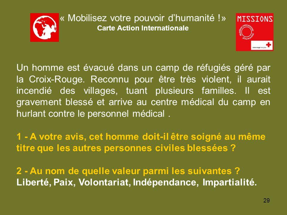 QUIZZ Croix-Rouge « Mobilisez votre pouvoir dhumanité !» Carte Action Internationale Un homme est évacué dans un camp de réfugiés géré par la Croix-Ro