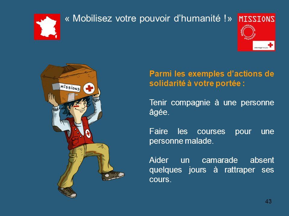 QUIZZ Croix-Rouge « Mobilisez votre pouvoir dhumanité !» Parmi les exemples dactions de solidarité à votre portée : Tenir compagnie à une personne âgé