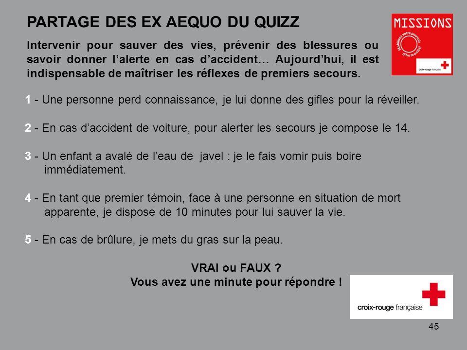QUIZZ Croix-Rouge « Mobilisez votre pouvoir dhumanité » 1 - 45 PARTAGE DES EX AEQUO DU QUIZZ 1 - Une personne perd connaissance, je lui donne des gifl