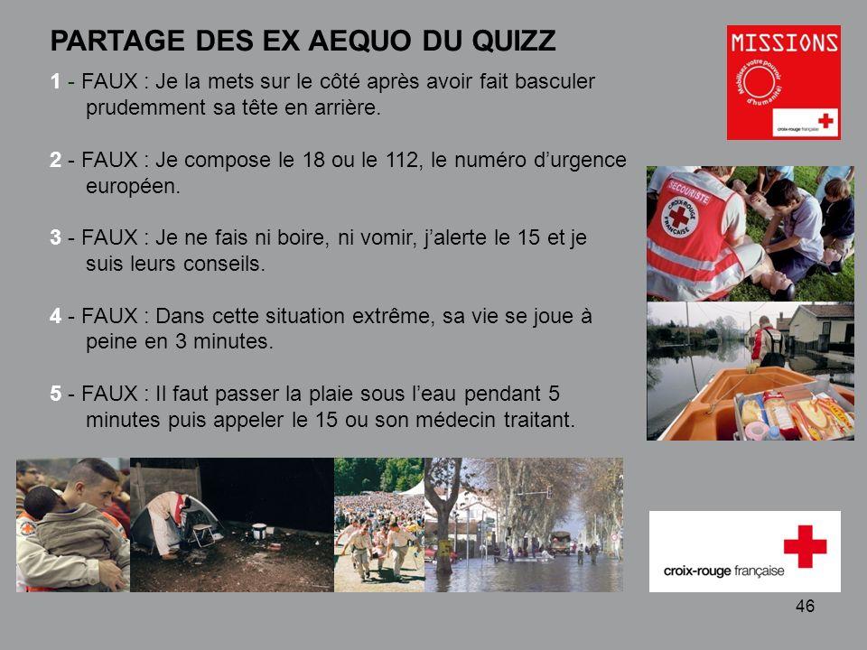 QUIZZ Croix-Rouge « Mobilisez votre pouvoir dhumanité » 1 - 46 PARTAGE DES EX AEQUO DU QUIZZ 1 - FAUX : Je la mets sur le côté après avoir fait bascul