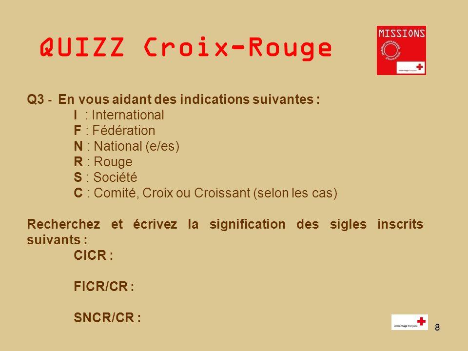 QUIZZ Croix-Rouge 8 Q3 - En vous aidant des indications suivantes : I : International F : Fédération N : National (e/es) R : Rouge S : Société C : Com