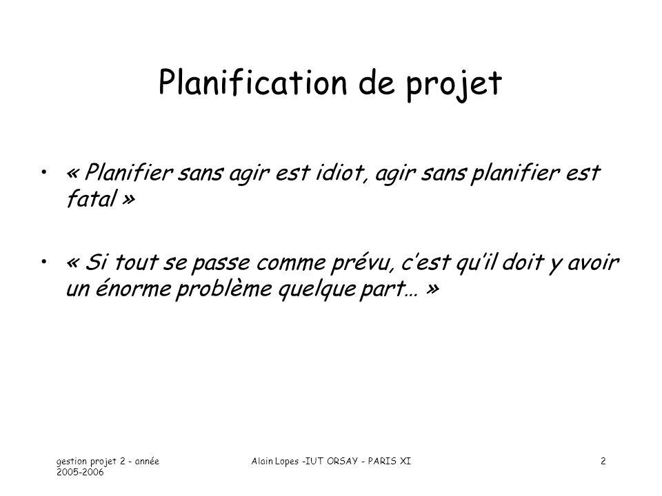 gestion projet 2 - année 2005-2006 Alain Lopes -IUT ORSAY - PARIS XI2 Planification de projet « Planifier sans agir est idiot, agir sans planifier est fatal » « Si tout se passe comme prévu, cest quil doit y avoir un énorme problème quelque part… »