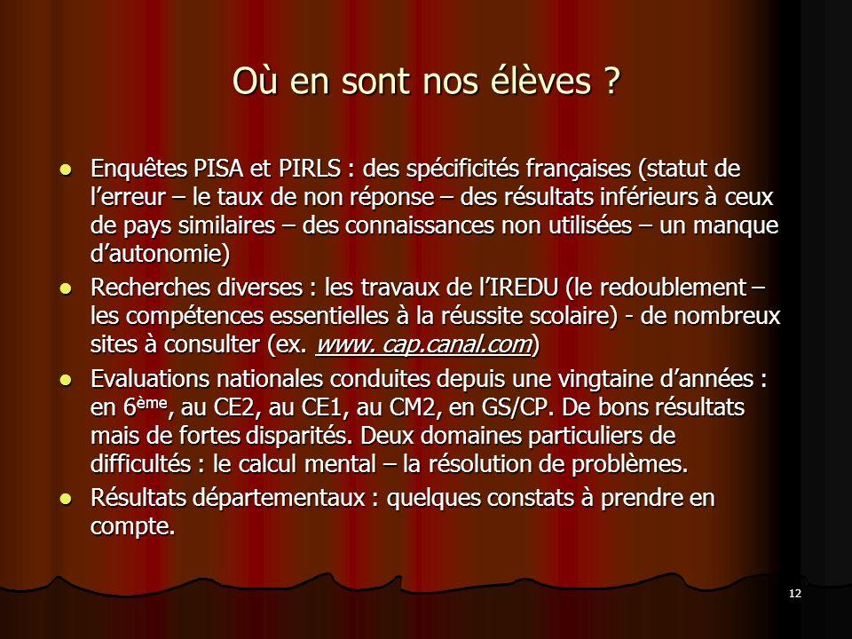 12 Où en sont nos élèves ? Enquêtes PISA et PIRLS : des spécificités françaises (statut de lerreur – le taux de non réponse – des résultats inférieurs