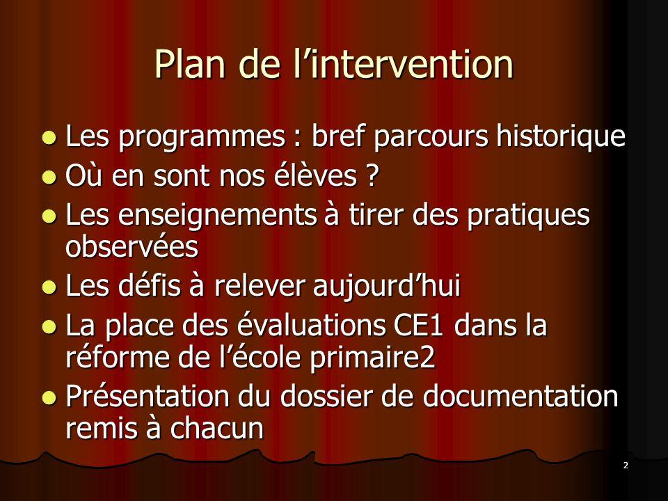 2 Plan de lintervention Les programmes : bref parcours historique Les programmes : bref parcours historique Où en sont nos élèves ? Où en sont nos élè