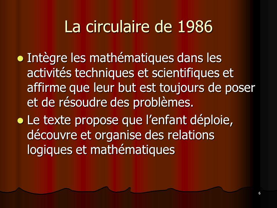 6 La circulaire de 1986 Intègre les mathématiques dans les activités techniques et scientifiques et affirme que leur but est toujours de poser et de r
