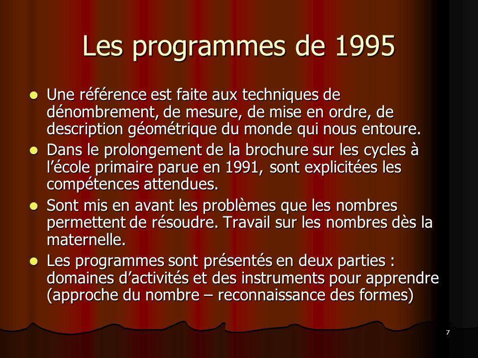 7 Les programmes de 1995 Une référence est faite aux techniques de dénombrement, de mesure, de mise en ordre, de description géométrique du monde qui
