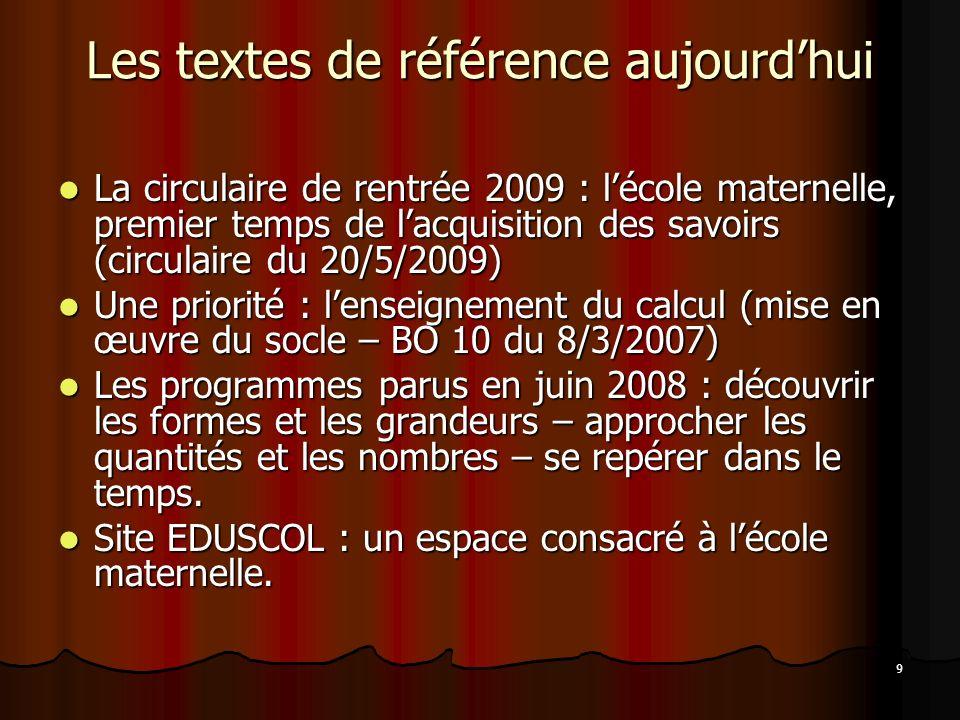 9 Les textes de référence aujourdhui La circulaire de rentrée 2009 : lécole maternelle, premier temps de lacquisition des savoirs (circulaire du 20/5/