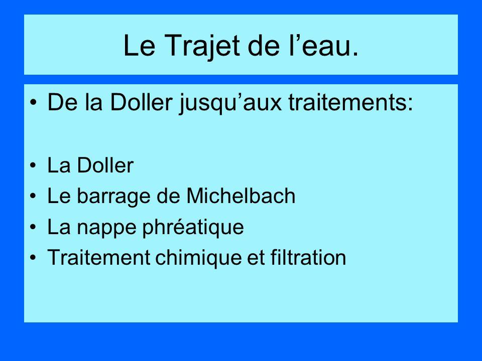 Le Trajet de leau. De la Doller jusquaux traitements: La Doller Le barrage de Michelbach La nappe phréatique Traitement chimique et filtration