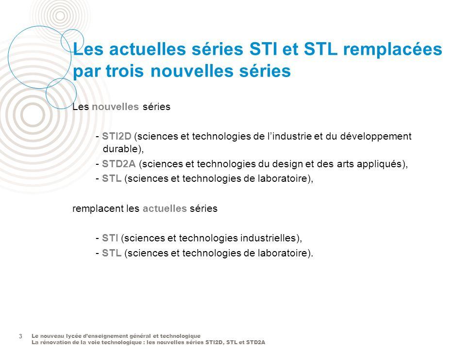 Le nouveau lycée denseignement général et technologique La rénovation de la voie technologique : les nouvelles séries STI2D, STL et STD2A 3 Les actuelles séries STI et STL remplacées par trois nouvelles séries 3 Les nouvelles séries - STI2D (sciences et technologies de lindustrie et du développement durable), - STD2A (sciences et technologies du design et des arts appliqués), - STL (sciences et technologies de laboratoire), remplacent les actuelles séries - STI (sciences et technologies industrielles), - STL (sciences et technologies de laboratoire).