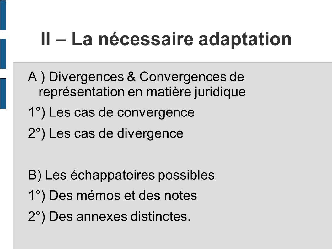 II – La nécessaire adaptation A ) Divergences & Convergences de représentation en matière juridique 1°) Les cas de convergence 2°) Les cas de divergen