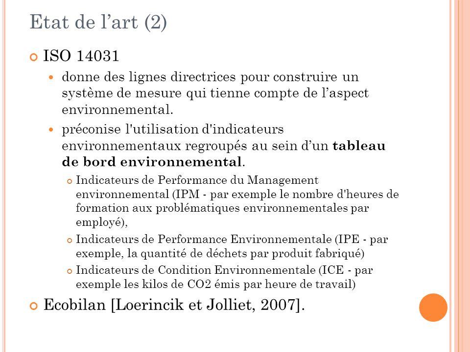 Etat de lart (2) ISO 14031 donne des lignes directrices pour construire un système de mesure qui tienne compte de laspect environnemental. préconise l