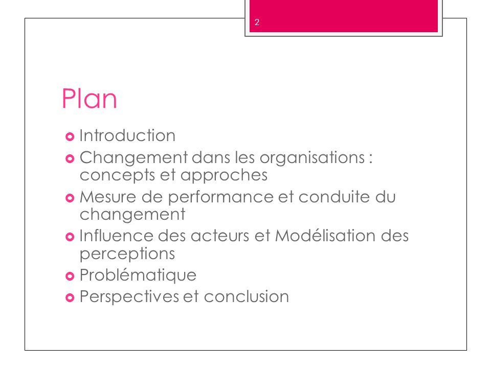 Plan Introduction Changement dans les organisations : concepts et approches Mesure de performance et conduite du changement Influence des acteurs et M