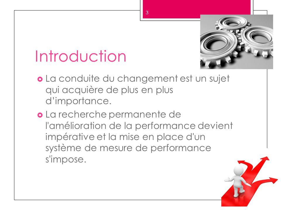 Introduction La conduite du changement est un sujet qui acquière de plus en plus dimportance. La recherche permanente de l'amélioration de la performa