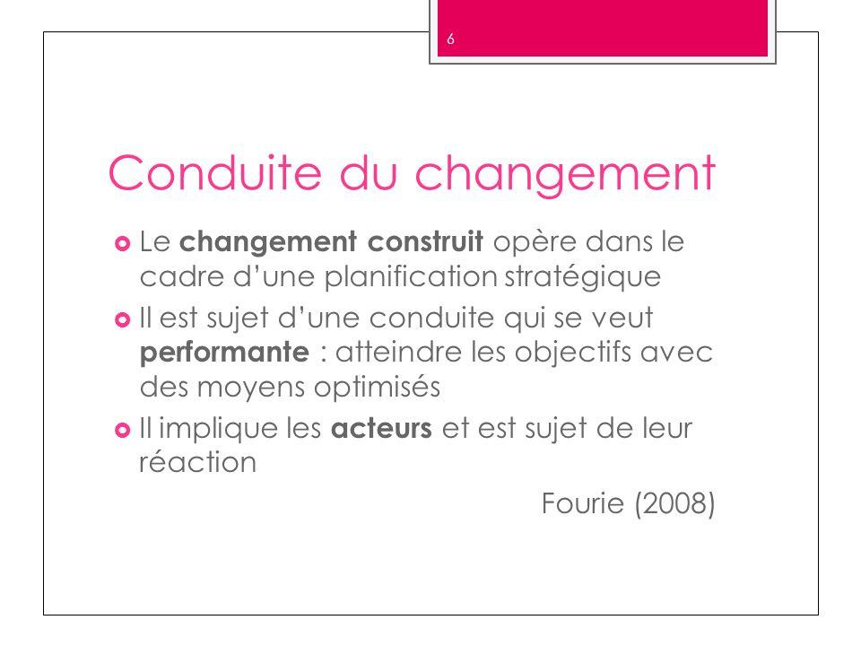 Conduite du changement Le changement construit opère dans le cadre dune planification stratégique Il est sujet dune conduite qui se veut performante :