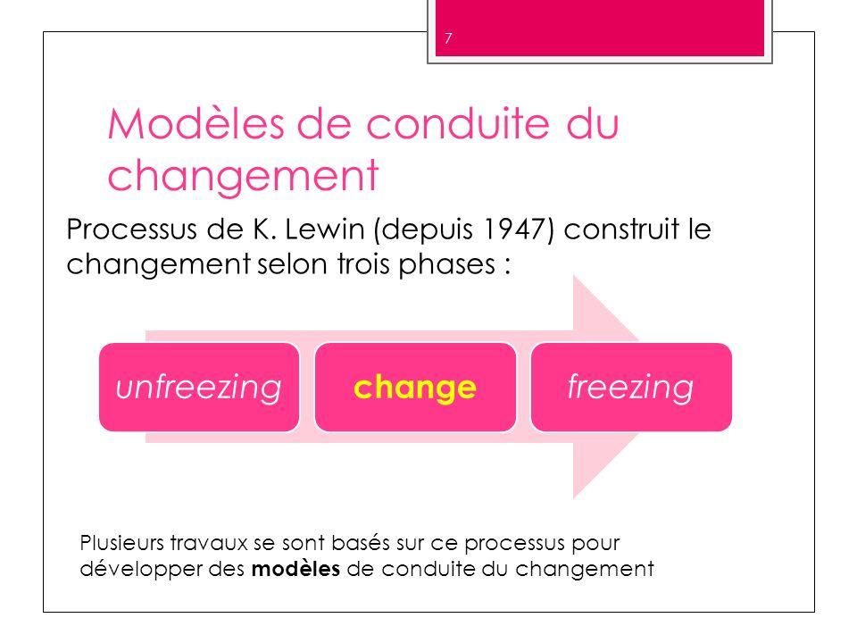 Modèles de conduite du changement unfreezing change freezing 7 Processus de K. Lewin (depuis 1947) construit le changement selon trois phases : Plusie