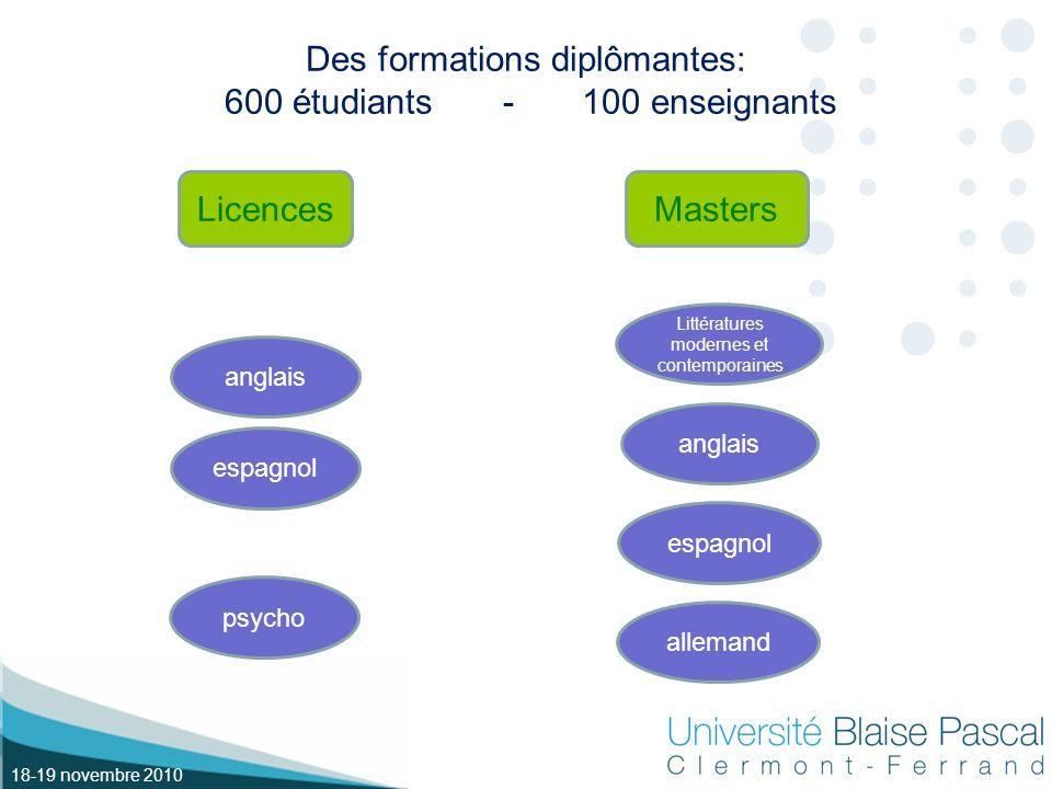 18-19 novembre 2010 Des formations diplômantes: 600 étudiants - 100 enseignants LicencesMasters anglais psycho espagnol allemand espagnol anglais Littératures modernes et contemporaines