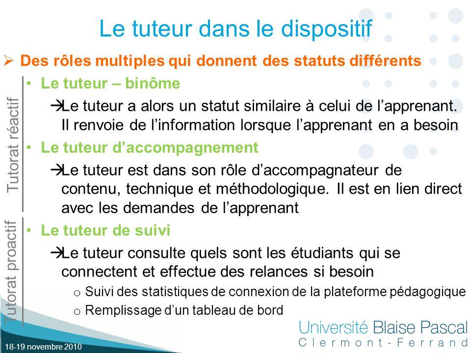 18-19 novembre 2010 Le tuteur dans le dispositif Des rôles multiples qui donnent des statuts différents Le tuteur – binôme Le tuteur a alors un statut similaire à celui de lapprenant.
