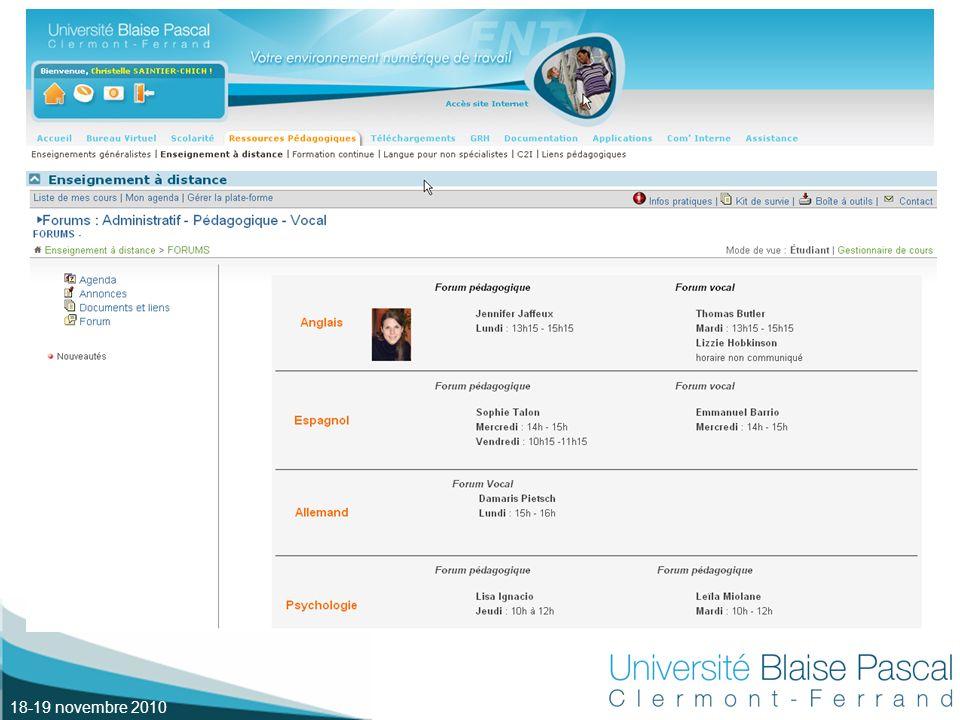 18-19 novembre 2010 Description du dispositif (1) Consignes Récapitulatif des activités Sommaire des activités