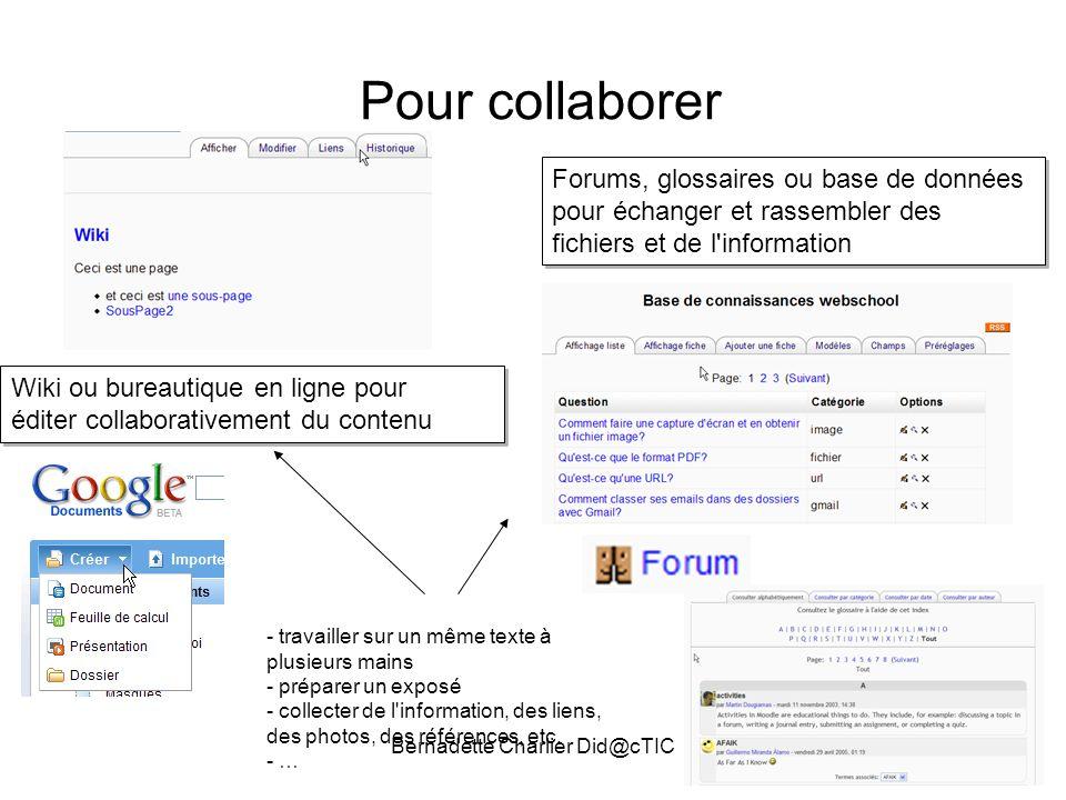 Bernadette Charlier Did@cTIC Pour collaborer Forums, glossaires ou base de données pour échanger et rassembler des fichiers et de l'information Wiki o