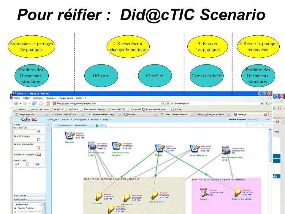 Bernadette Charlier Did@cTIC 17 Pour réifier : Did@cTIC Scenario Expression et partages De pratiques 2. Rechercher à changer la pratique 3. Essayer le
