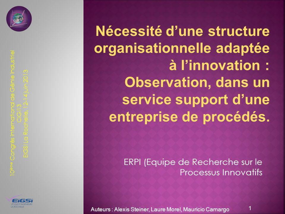 10 ème Congrès International de Génie Industriel CIGI13 EIGSI La Rochelle, 12-14 juin 2013 ERPI (Equipe de Recherche sur le Processus Innovatifs Auteu