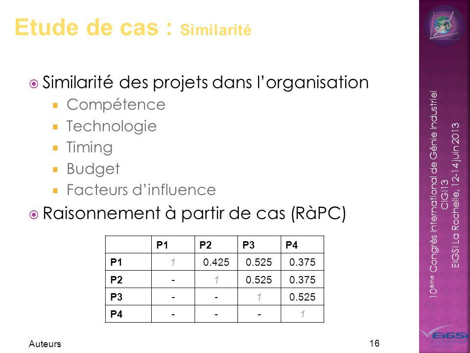10 ème Congrès International de Génie Industriel CIGI13 EIGSI La Rochelle, 12-14 juin 2013 Auteurs 16 Etude de cas : Similarité P1P2P3P4 P110.4250.525