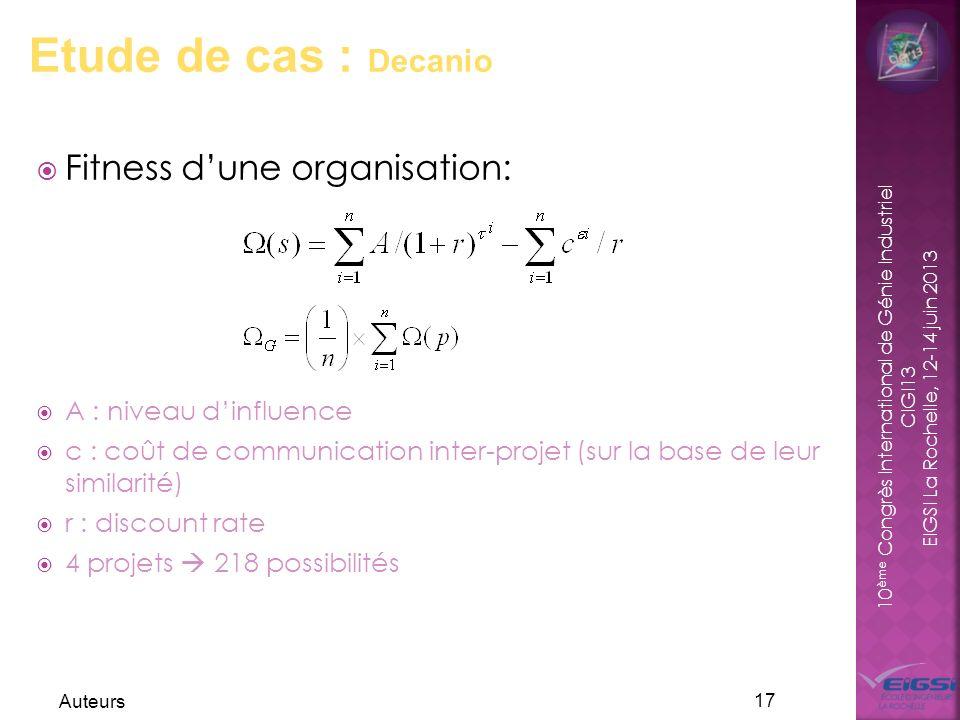 10 ème Congrès International de Génie Industriel CIGI13 EIGSI La Rochelle, 12-14 juin 2013 Auteurs 17 Etude de cas : Decanio Fitness dune organisation