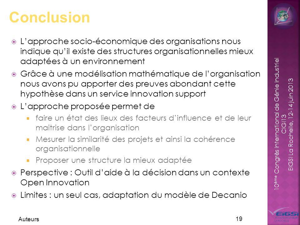 10 ème Congrès International de Génie Industriel CIGI13 EIGSI La Rochelle, 12-14 juin 2013 Lapproche socio-économique des organisations nous indique q