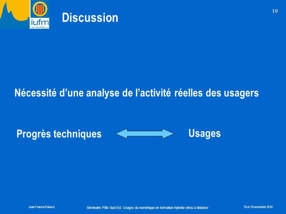 Séminaire Pôle Sud-Est: Usages du numérique en formation hybride et/ou à distance Jean-Francis Ranucci18 et 19 novembre 2010 19 Discussion Nécessité d