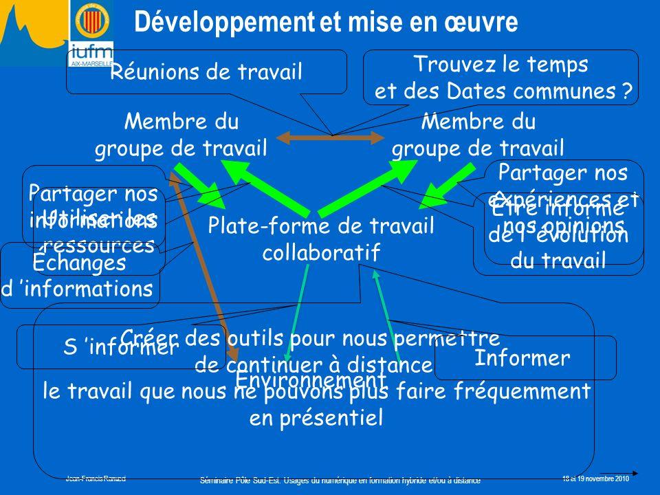 Séminaire Pôle Sud-Est: Usages du numérique en formation hybride et/ou à distance Jean-Francis Ranucci18 et 19 novembre 2010 Plate-forme de travail co