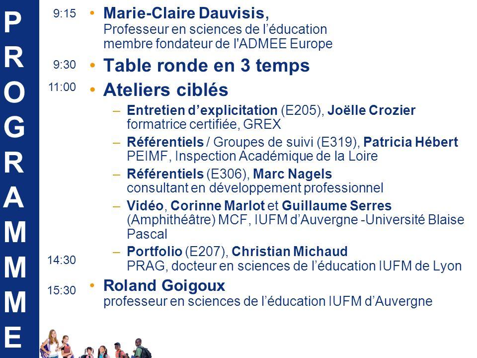 Marie-Claire Dauvisis, Professeur en sciences de léducation membre fondateur de l ADMEE Europe Table ronde en 3 temps Ateliers ciblés –Entretien dexplicitation (E205), Joëlle Crozier formatrice certifiée, GREX –Référentiels / Groupes de suivi (E319), Patricia Hébert PEIMF, Inspection Académique de la Loire –Référentiels (E306), Marc Nagels consultant en développement professionnel –Vidéo, Corinne Marlot et Guillaume Serres (Amphithéâtre) MCF, IUFM dAuvergne -Université Blaise Pascal –Portfolio (E207), Christian Michaud PRAG, docteur en sciences de léducation IUFM de Lyon Roland Goigoux professeur en sciences de léducation IUFM dAuvergne PROGRAMMMEPROGRAMMME 11:00 9:15 9:30 14:30 15:30