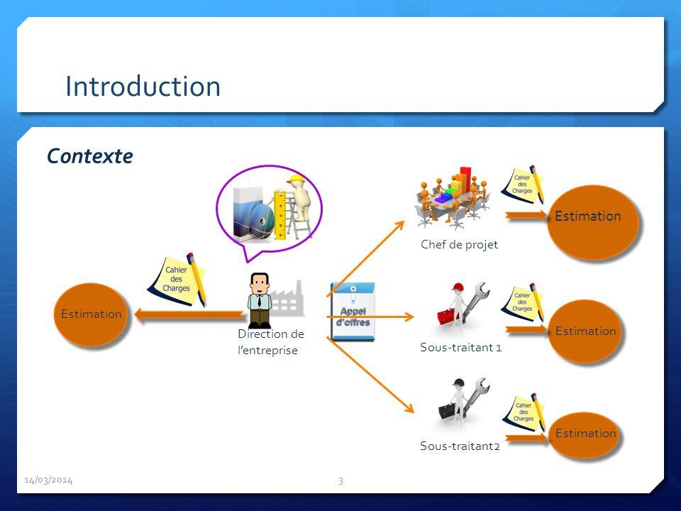 Introduction 14/03/2014 3 Direction de lentreprise Estimation Chef de projet Sous-traitant 1 Sous-traitant2 Estimation Contexte