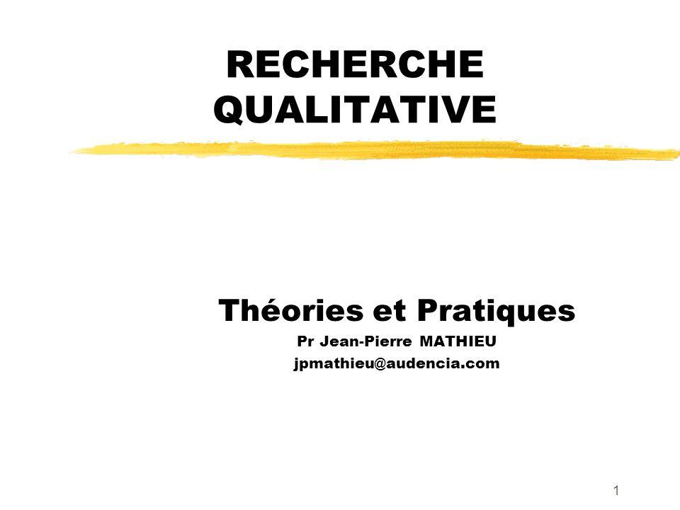 1 RECHERCHE QUALITATIVE Théories et Pratiques Pr Jean-Pierre MATHIEU jpmathieu@audencia.com