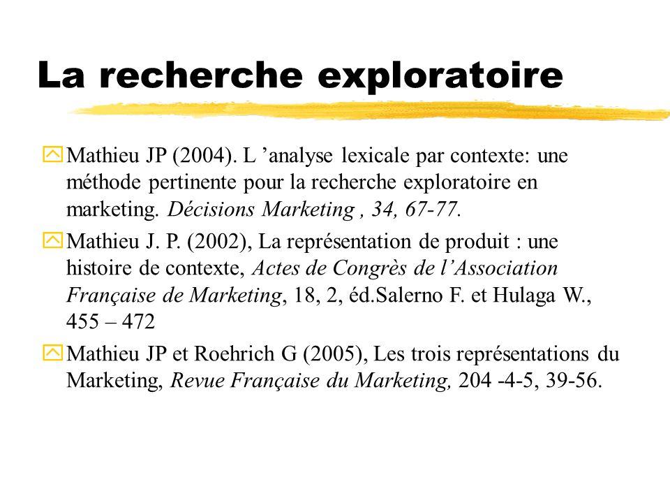 La recherche exploratoire yMathieu JP (2004).
