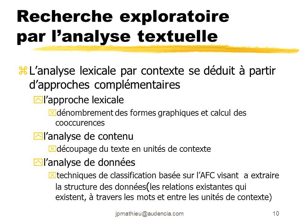 jpmathieu@audencia.com10 Recherche exploratoire par lanalyse textuelle zLanalyse lexicale par contexte se déduit à partir dapproches complémentaires y