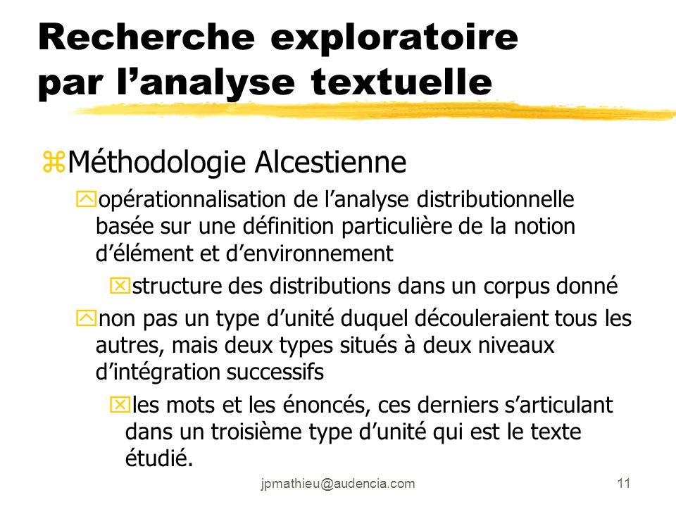 jpmathieu@audencia.com11 Recherche exploratoire par lanalyse textuelle zMéthodologie Alcestienne yopérationnalisation de lanalyse distributionnelle ba